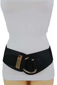 Women Black Wide Belt Hip High Waist Gold Metal Hook Buckle Plus Size L XL XXL