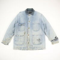 Vtg Sears Sun Faded Distressed Denim Blanket Lined Chore Jacket Workwear M/L?