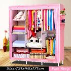 "Portable Canvas Clothes Closet Wardrobe Storage Organizer with Shelves 53""Large"