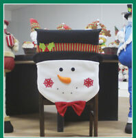 Christmas Gift Santa Hat Dining Chair Back Cover Snoweman  Xmas Table Home Decor