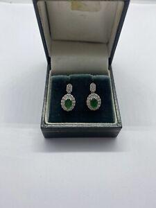 18k White gold Emerald and Diamond Drop Earings