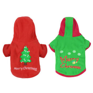 Christmas Costume Pet Dog Cotton  Pullover Coat Hoodie Puppy Xmas Clothes XS-XL