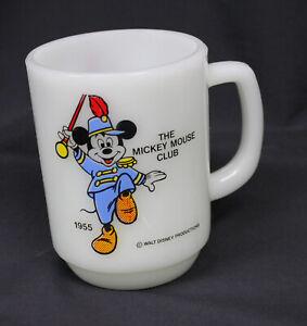 Vtg Mickey Mouse Club Anchor Hocking Mug Cup Bandleader 1955 Pepsi Milk Glass