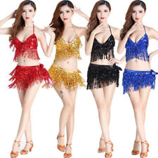 NEW Belly Dance Costume Sequins Fringe Tassel Top+Hip Skirt Scarf Wrap Bollywood