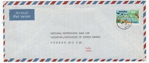 1982 NIGERIA Air Mail Cover JOS to GUILDFORD GB Nat West Bank