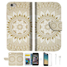 White AZTEC TRIBAL Wallet  Case Cover For Apple iPhone 6 6S -- A006