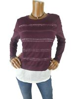 Maison Jules L Top Wine w/Off White Hem NWT $69 Casual Knit Shirt Embroidery