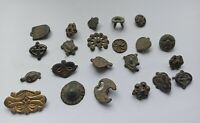 LOT OF ANCIENT MAGYAR HORSEMEN'S BRONZE BELT BUCKLES. ONE GILDED. 900-1100 AD