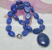 13x18mm Natural Blue Lapis Lazuli Gemstone Oval Beads Pendant Necklace 18""
