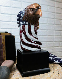 """Large 12"""" American Bald Eagle On Star Spangled Banner Flag Bust Statue With Base"""