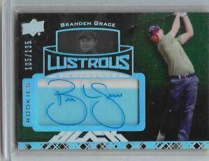 2013 2014 UD Black Exquisite Golf card Branden Grace Lustrous Rookie auto card