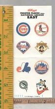 1992 KELLOGG'S FROSTED FLAKES NATIONAL LEAGUE EAST TONY TIGER STICKERS DECALS