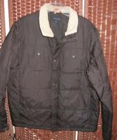 Lands End winter jacket L 42-44 mens brown nylon insulated quilted