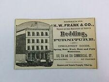 1891 California San Francisco Commercial Street Furniture Print Ad Advertisement