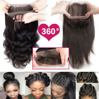 7A Brazilian 360 Full Lace Frontal Closure Pre Plucked 100% Virgin Human Hair US