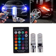 2pcs 6SMD T10 RGB Car LED Wedge Reading Lamp Auto Interior Light+ Remote Control