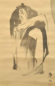 """Vintage Japanese Hanging Scroll """"Sumie"""" Vary cool painting! circa 1950s(TKS)"""