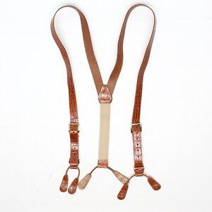 Croc Print Mens Leather Braces Suspenders Brown Brass Buckle Button Tab