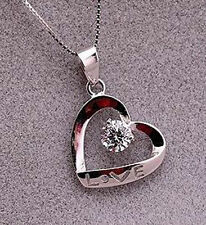 "1.0 CT Diamond Heart LOVE Necklace with Sterling Silver 18"" Chain Love Gift-NL72"
