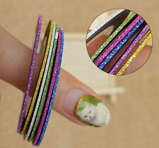 6 Glitter Color Self Adhesive Nail Art Strips Tape Laser Line 1mm Width 3003b