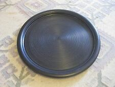 "vintage FRANCO BUCCI  platter dish - 17"" black spiral - pottery - modern - ITALY"