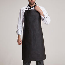 New Male Cooking Halter Bib Apron Faux Leather Waterproof Antifouling Pinafore