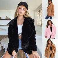 Fashion Fit Bear Faux Coat Parka Teddy Womens Fur Ladies Loose Jacket Cardigan