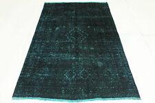 Vintage Orient Tapis bleu turquoise overdyed 200x120 Used Look noué à la main