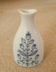Porsgrund Norway Blue And White 1961 Bud Vase