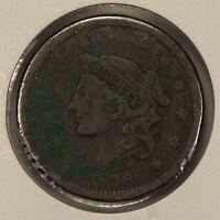 1838 1c Coronet Head Large Cent SKU-Y2596