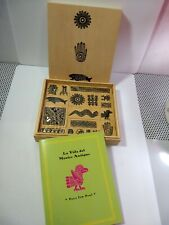 The Life of Ancient Mexico 18 Symbols Rubber Stamp Set in Wooden Box & Booklet