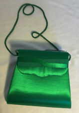 Vintage Delill Green Satin Evening Shoulder Bag - pre-owned
