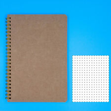 """Dotted Notebook A5 - Spiral Dot Grid Paper Notebook - Tan Cover 5.5""""X8.5"""""""