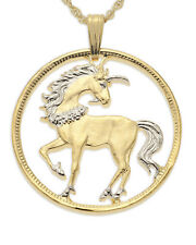 "Unicorn Pendant Necklace China Hand cut coin 14K& Rhodium 1"" diameter( # 484 )"