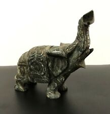 Green Aventurine Elephant Sculptures 5.3 inch Natural Jade Carved Stone