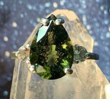 Moldavite Transformational Angel Starseed Tektite Teardrop W/ Danburite Ring