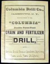 Columbia Double Force-Feed Grain and Fertilizer Drill Catalogue 1884 SC Book