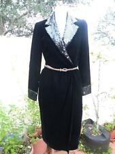 BALENCIAGA PARIS GORGEOUS VINTAGE BLACK VELVET WRAP DRESS W/SEQUIN COLLAR SZ 38