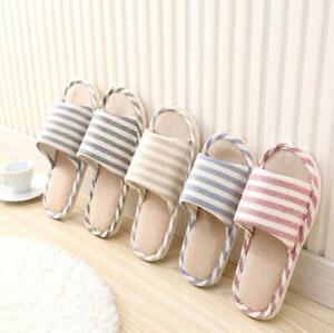 Striped linen four seasons indoor floor slippers cotton and linen non-slip