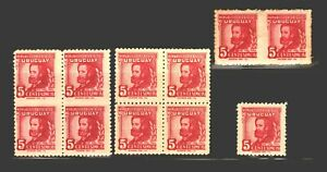 Error stamps imperforated between blocks Education Reformer Uruguay #542 MLH