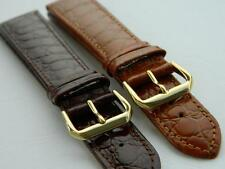Genuine Calf Leather Croco Grain Long Watch Strap Antiallergic Buckle