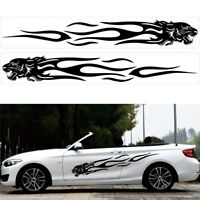 1 Pair Car SUV Both Body Sides Vinyl Leopard Head Flame Graphic Decal Stickers