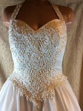 Jacquelin Wedding Dress~Style 9218~Halter~Sz 8~Embroidery~Beaded~LongTrain Tulle