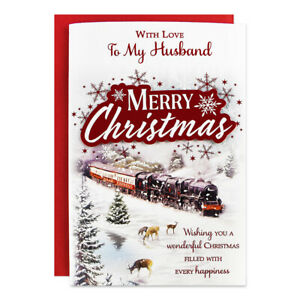 HUSBAND CHRISTMAS CARD ~ LARGE SIZE QUALITY CARD ~ STEAM TRAIN DESIGN NICE VERSE