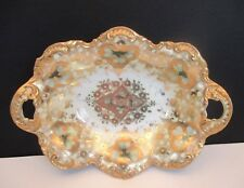 Antique Hand Painted Oval Bowl with Shamrocks, Gold Trim and Beading