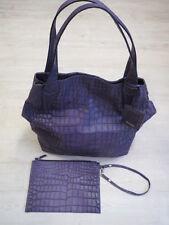 MAXMARA hand- schultertasche shopper violett lila leder krokoprägung gross 5423