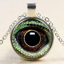 Vintage Cabochon Tibetan Silver Glass lizard eye Chain Pendant Necklace E