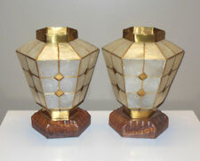 Mid Century Pair CAPIZ SHELL & Brass Lamps Lanterns Asian Hollywood Regency