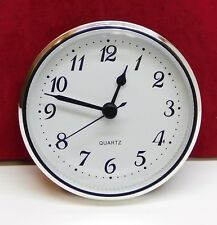 """Complete Clock Insert Fit Up Movement 3 1/2"""" Diameter White Dial Silver SWA3.5"""