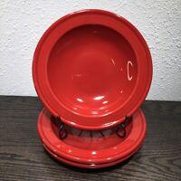"""EMILE HENRY France Brick Red 22.cm Rimmed Soup Or Salad Bowls 8 3/4"""" - Lot Of 3"""